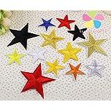 Nueva 4-7cm aleatoria estrella de cinco puntas del paño apliques de ropa / zapatos / Sombreros adorno de hierro o parche cosido 20pcs / lot 20010057 (4-7H20)