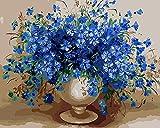 CaptainCrafts New Malen nach Zahlen 16x20 'für Erwachsene, K0inder Leinwand - Charm Blau, Blau Blumen Vase (Frameless)