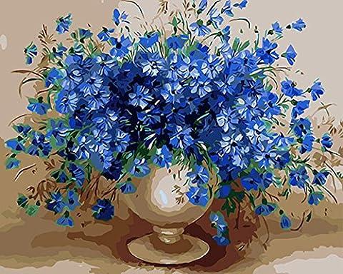 """CaptainCrafts New Malen nach Zahlen 16x20 """"für Erwachsene, K0inder Leinwand - Charm Blau, Blau Blumen Vase (Mit Rahmen)"""