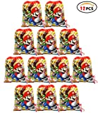 Qemsele Bolsa Mochilas Bolsas de cumpleañoscordón Dibujos Animados Mochila Bolsas para cumpleaños niños y Adultos la Fiesta favorece la Bolsa, Rellenos Bolsas Fiesta 12Pcs (Mario, W10 * H12)