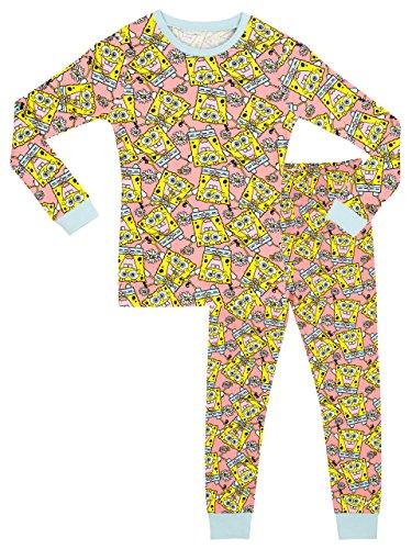 SpongeBob - Pijama para niñas - Bob Esponja - Ajuste Ceñido - 6 a 7 Años