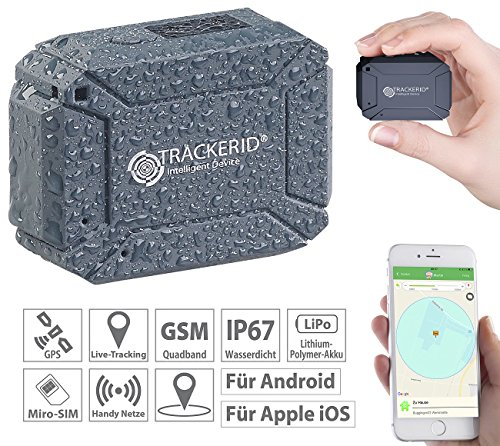 TrackerID GPS Sender: GPS- & GSM-Tracker, Live-Tracking-App, SOS-Funktion, Geofencing, IP67 (Ortungsgerät)