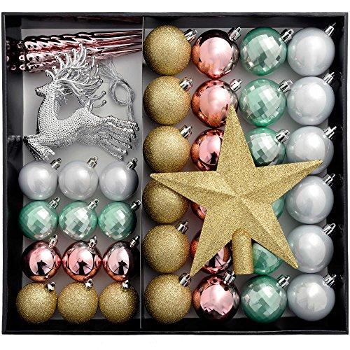 WeRChristmas Juego de Bolas de Lujo para el árbol de Navidad, Prueba de Golpes, plástico, Gold/Silver/Pink/Blue, 50 Piece