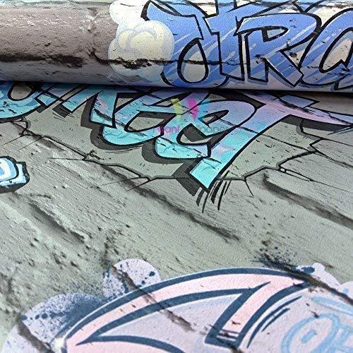 Muriva Graffiti Muster Kinder Tapete Gemalt Ziegel Faux-effekt Metallisches Motiv - Grau L17906 - Tapete Ziegel Grau