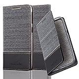 Cadorabo Hülle für HTC Desire 626G - Hülle in GRAU SCHWARZ - Handyhülle mit Standfunktion und Kartenfach im Stoff Design - Case Cover Schutzhülle Etui Tasche Book