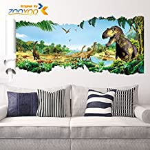 zooarts - dragón dinosaurios Árbol desplazamiento extraíble pared vinilo adhesivo adhesivos para habitación de los niños, modelo dinosaurios
