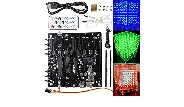 3d Light Cube kit 8/x 8/x 8/Rouge Vert Bleu LED MP3/Musique Spectre /électronique DIY Kit