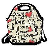 YWG amor corazón patrón Ziplock bolsa de almuerzo Tote portátil bolso caja de almuerzo Impermeable Aislado Alimentos contenedor para niños y niñas escuela Picnic oficina de viaje al aire libre