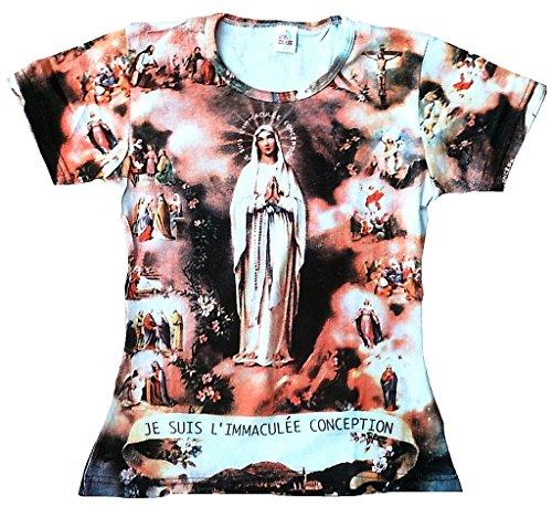 TICILA Damen Woman Femmes T-Shirt Weiss White Ave Maria Heilige Madonna Mary le suis l'immaculée conception Halleluja Kunst Art Religion Super Star Designer Vintage Tattoo Design S 34/36 -