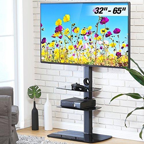 FITUEYES Giratorio Soporte de Suelo con 3 Estantes para TV LCD LED OLED Plasma Plano Curvo 32-65 Pulgadas TT306501GB