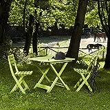 Progarden 987150 Camping-Set limegrün bestehend aus: 2x Stuhl Birki +1 x Tisch Tevere, komplett zusammenklappbar