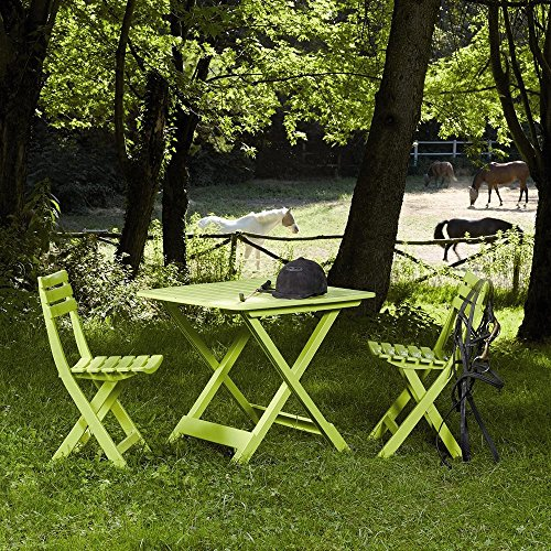 PROGARDEN 987 150 Camping set limegreen composto da: 2x sedia Birki 1 x tavolo Tevere, completamente pieghevole