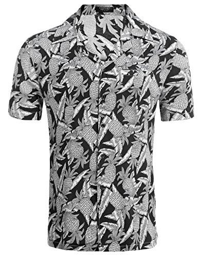 Coofandy Herren Sommer Hemd Kurzarm Hawaiihemd Hawaiishirt Freizeithemd Urlaub Hawaii-Print