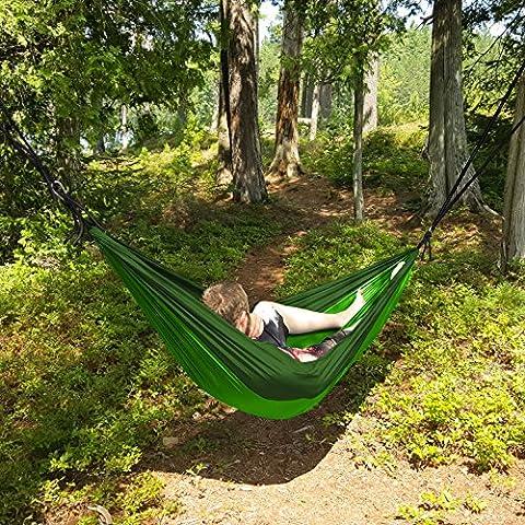 North East Harbour® Portable 2personne Hamac en corde à suspendre balançoire Camping–Fruit Vert et vert foncé