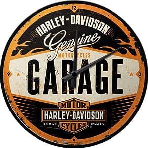 Nostalgic-Art 40361135108 Orologio Harley-Davidson Garage, Acciaio, Multicolore, 31 x 31 x 6 cm