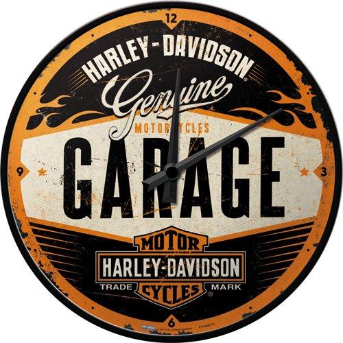 Nostalgic-Art 51083 Harley-Davidson - Garage, Wanduhr 31cm (Harley Motorrad Uhr)