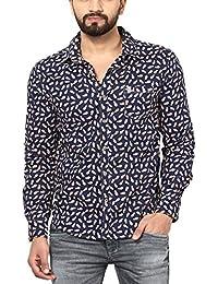 Mufti Men's Mid Rise Slim Fit Shirts (XXXL, Navy)