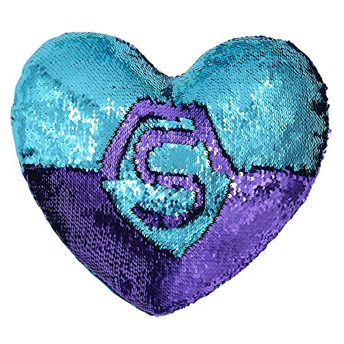 Tomus-UNI Mermaid Throw PillowsTwo-Color Reversible Sequins Mermaid Heart-Shaped Pillow Cover Insert 13''×15''(Bright Green/Purple)