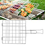 HOKIPO Steel Barbecue BBQ Grill Net Basket (Silver)