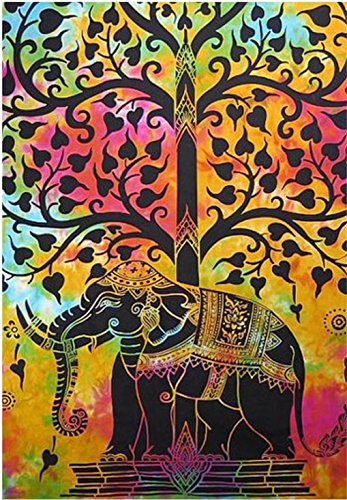 indian-hippie-gypsy bohemian-psychedelic-good-luck tie-dye-elephant-tree wall-hanging-tapestry Twin-Size