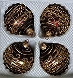 Matte dunkelrote Weihnachtskugeln mit golden Glitzerapplikationen aus Glas - Durchmesser 7 cm 4er Set