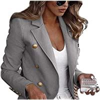 FeMereina Womens Tartan Blazers Suit Long Sleeve Lapel Collar Jacket Double Breast Houndstooth Suit Tops for Work Office