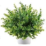 MIHOUNION 4 régimes artificielle arbustes Faux Plastique plantes d'eucalyptus Feuilles vertes Maison de cuisine Jardin extérieur Craft Floral Arrangement Résidence universitaire.