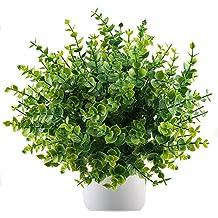 MIHOUNION 4 pcs plantas verdes artificiales eucalipto hojas arbustos de plástico y arreglo de ramo simulación de plantas decoración del hogar jardín exterior greening