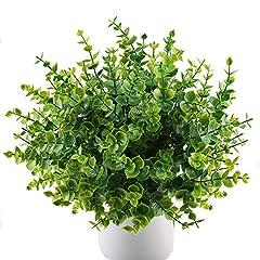 Idea Regalo - MIHOUNION 4 mazzi Piante artificiale arbusti falso finte plastica piante verde foglie di eucalipto Home Kitchen Garden Outdoor Craft Floral Arranging decori