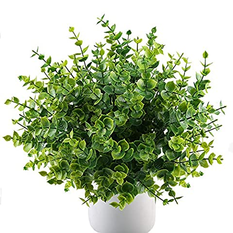 MIHOUNION 4 Bunches Realistic Artificial Plants Spring Green Eucalyptus Leaves Artificial Plastic Shrubs for Outdoor Home Kitchen Garden Table Grave Easter