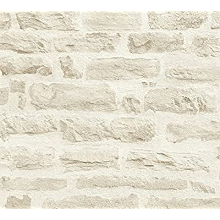 A.S. Creation 35580-3 Best of Wood and Stone Realistic Brick Design Wallpaper, Beige/Cream