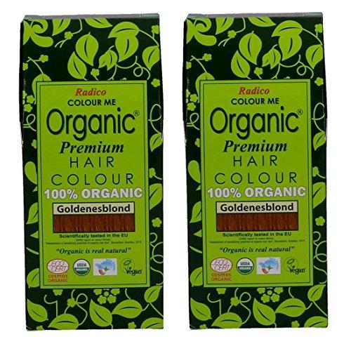 Radico Goldenes Blond 2er-Pack Colour Me Organic Pflanzenhaarfarbe (bio, vegan, Naturkosmetik) goldbx2 -