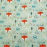 Stoff Meterware Baumwolle Mint Fuchs Camp Zelt Pfeil