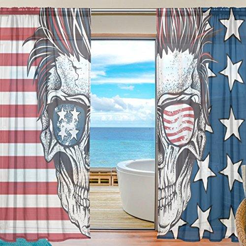 yibaihe Fenster Vorh?nge, Gardinen Platten Voile Drapes T¨¹ll Vorh?nge Totenkopf mit American Flagge Sonnenbrille 139,7?cm W x 198,1?cm L 2?Eins?tze f¨¹r Wohnzimmer Schlafzimmer