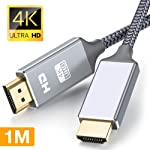 Snowkids HDMI Cable 3.3FT - Braided Cord - 4K HDMI 2.0 Ready - High Speed - Ethernet/Audio Return Channel - Video 4K UHD...