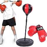 Kinder Standboxsack Punching Ball Verstellbar Boxbirne Boxhandschuhe Boxen