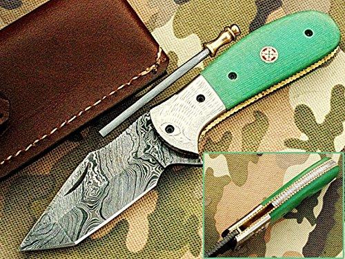 faite à la main 18 cm Awesome couteau de poche pliant des véritables Acier de Damas avec manche G10 Matière Mitres et gravée : (Bdm-116) (Legal au transport)