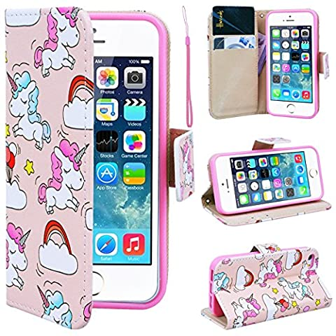 SmartLegend iPhone 5S Wallet Case, iPhone SE Leather Case, Folio Flip Case Cover for Apple iPhone 5 5S SE with Strap, Cute Cartoon Unicorns Book Style PU Full Body Protection with [Kickstand] Stand Function, Card Slots Holster Purse, Soft TPU Silicone Inner Back Cover SmartPhone Protective Skin Cover for Apple iPhone 5 5S SE -