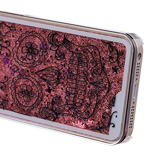 iPhone SE Coque ,iPhone 5S Coque,iPhone SE Case,EMAXELERS Black Liquide Series dur Plastique Transparent Clair Liquide Glitter Bling Sparkles Cool Rose Skull Fleur Design Strass Case Cover Coquille 3D Silver Liquide 9