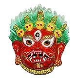 Lucky Spiritual Mahakala Wall Sculpture - Hindu God Shiva Wall Decor Hanging Mask, For Good Luck & Brings Prosperity, Success