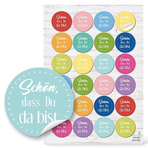 24 runde Aufkleber bunt rosa gelb blau grün SCHÖN DASS DU DA BIST 4 cm Sticker Etiketten für Hochzeit Taufe Kommunion Geburtstag Gastgeschenke give-away Deko Mitgebsel Feste Geschenke Verpackung