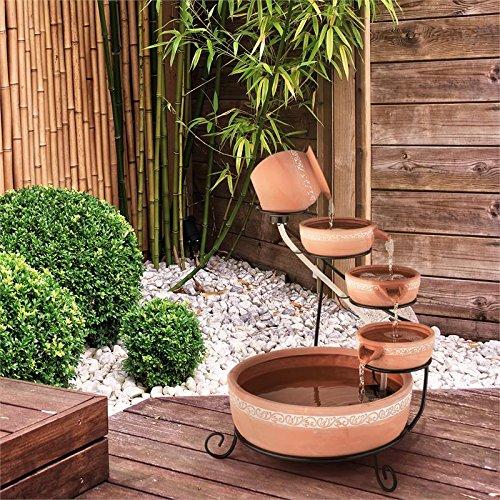 Blumfeldt empoli • fontana da giardino • fontana a cascata • fontana solare • vasi in terracotta decorati • pompa circolazione • portata 200 l/h • pannello solare 2w • illuminazione led • marrone