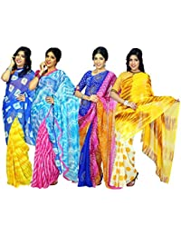 Kanooda Prints Women's Georgette Colorful Saree (PO4_Multi)