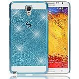 Samsung Galaxy Note 3 Neo Hülle Handyhülle von NALIA, Glitzer Slim Hard-Case Back-Cover Schutzhülle, Handy-Tasche im Glitter Design, Dünnes Bling Strass Etui Skin für Note 3 Neo Smart-Phone - Blau