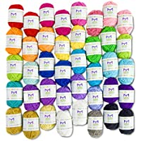 Basic Miniature Yarn Pack – 40 Yarn Bonbon Skeins 100% Acrylic - Total of 875 yards (800 m) Colourful Yarn - Perfect for any Crochet and Knitting Mini Project