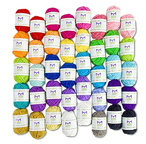 Basic Miniature Yarn Pack - 40 Acrylic Yarn Bonbon Skeins - Total of 875 yards (800 meters) Colourful Yarn - Perfect for any Crochet and Knitting Mini Project - 6 Ebooks Included