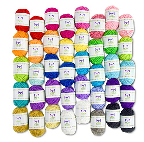 Basic Miniature Yarn Pack - 40 Yarn Bonbon Skeins 100% Acrylic - Total of 875 yards (800 m) Colourful Yarn - Perfect for any Crochet and Knitting Mini Project