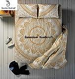 ganesham–Indische Hippie Mandala Queen Psychedelic Stickset, Decken, Schlafzimmer Tagesdecke/Überwurf, Spannbetttuch, indischen Mandala Bettwäsche Baumwolle Bett Bezug mit 2kissenrollen Cover