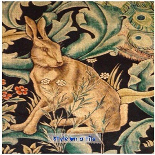 beautiful-art-and-crafts-william-morris-rabbit-hare-forest-design-108mm-425-ceramic-tile-coaster-mat