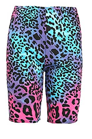 Oops Outlet Damen Bedruckt Stretch-Jersey Gym Fahrrad Strumpfhose Hotpants Shorts Übergröße UK 8-26 - Galaxy Leopardenmuster, M/L (40/42)